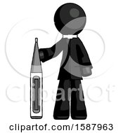 Black Clergy Man Standing With Large Thermometer