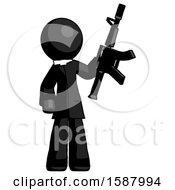 Black Clergy Man Holding Automatic Gun
