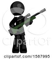 Black Clergy Man Holding Sniper Rifle Gun