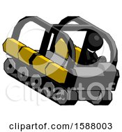 Black Clergy Man Driving Amphibious Tracked Vehicle Top Angle View