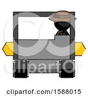 Black Detective Man Driving Amphibious Tracked Vehicle Front View