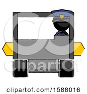 Black Police Man Driving Amphibious Tracked Vehicle Front View