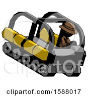 Black Detective Man Driving Amphibious Tracked Vehicle Top Angle View