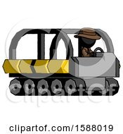 Black Detective Man Driving Amphibious Tracked Vehicle Side Angle View