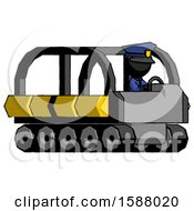 Black Police Man Driving Amphibious Tracked Vehicle Side Angle View