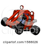 Black Police Man Riding Sports Buggy Side Top Angle View