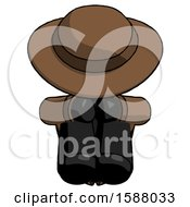 Black Detective Man Sitting With Head Down Facing Forward