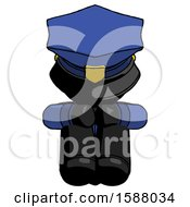 Black Police Man Sitting With Head Down Facing Forward