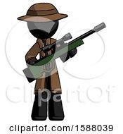 Black Detective Man Holding Sniper Rifle Gun
