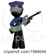 Black Police Man Holding Sniper Rifle Gun