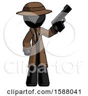Black Detective Man Holding Handgun