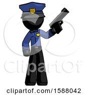 Black Police Man Holding Handgun