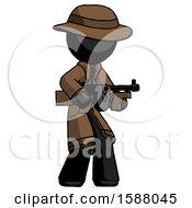 Black Detective Man Tommy Gun Gangster Shooting Pose