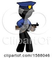 Black Police Man Tommy Gun Gangster Shooting Pose