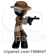 Black Detective Man Shooting Automatic Assault Weapon