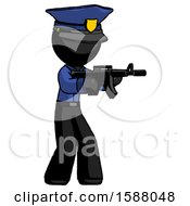 Black Police Man Shooting Automatic Assault Weapon