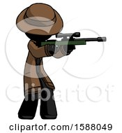 Black Detective Man Shooting Sniper Rifle