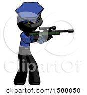 Black Police Man Shooting Sniper Rifle