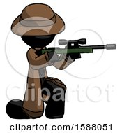 Black Detective Man Kneeling Shooting Sniper Rifle