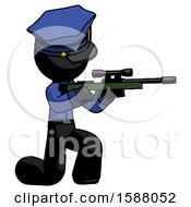 Black Police Man Kneeling Shooting Sniper Rifle