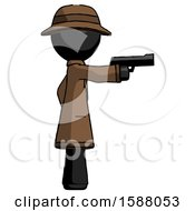 Black Detective Man Firing A Handgun