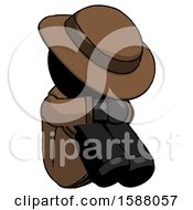 Black Detective Man Sitting With Head Down Facing Angle Right