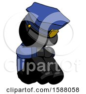 Black Police Man Sitting With Head Down Facing Angle Right