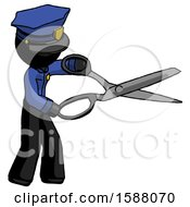 Black Police Man Holding Giant Scissors Cutting Out Something