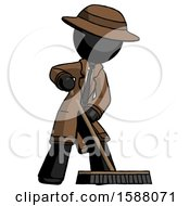 Black Detective Man Cleaning Services Janitor Sweeping Floor With Push Broom