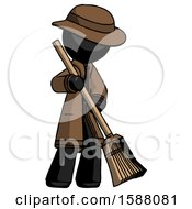 Black Detective Man Sweeping Area With Broom