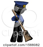 Black Police Man Sweeping Area With Broom