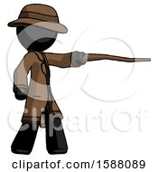 Black Detective Man Pointing With Hiking Stick
