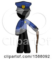 Black Police Man Standing With Hiking Stick