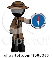 Black Detective Man Holding A Large Compass
