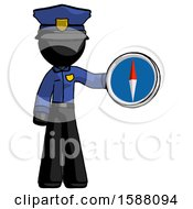 Black Police Man Holding A Large Compass