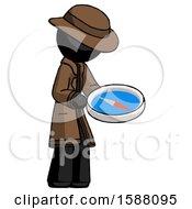 Black Detective Man Looking At Large Compass Facing Right