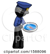 Black Police Man Looking At Large Compass Facing Right