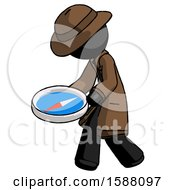 Black Detective Man Walking With Large Compass