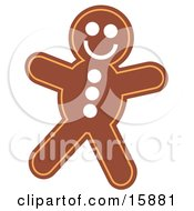 Gingerbread Man With A Smiley Face Clipart Illustration