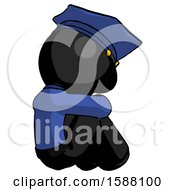 Black Police Man Sitting With Head Down Back View Facing Right