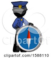Black Police Man Standing Beside Large Compass