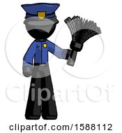 Black Police Man Holding Feather Duster Facing Forward