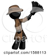 Black Detective Man Dusting With Feather Duster Upwards