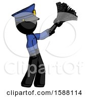 Black Police Man Dusting With Feather Duster Upwards