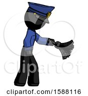 Black Police Man Dusting With Feather Duster Downwards
