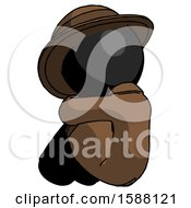 Black Detective Man Sitting With Head Down Back View Facing Left