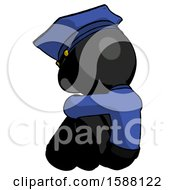 Black Police Man Sitting With Head Down Back View Facing Left