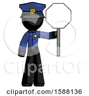 Black Police Man Holding Stop Sign