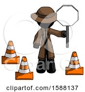 Black Detective Man Holding Stop Sign By Traffic Cones Under Construction Concept