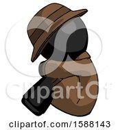 Black Detective Man Sitting With Head Down Facing Sideways Left